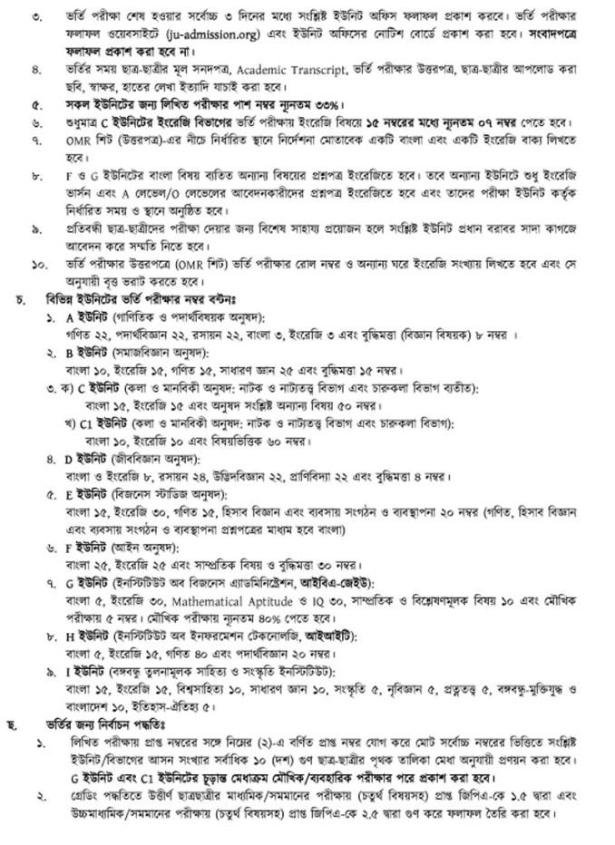 Jahangirnagar Admission 2020-21