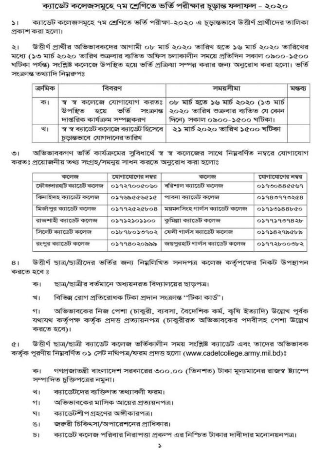 cadet-college-admission-result-class-7