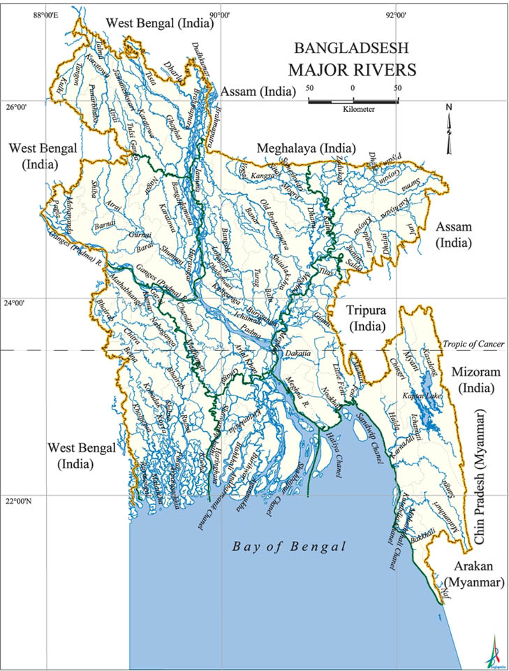 Map of All River in Bangladesh