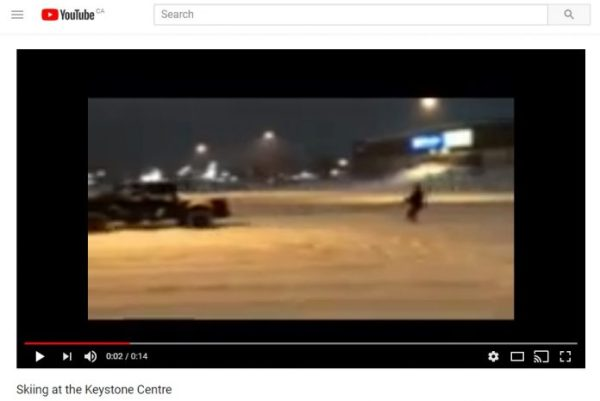 Skiing in the Keystone Centre parking lot while being ...