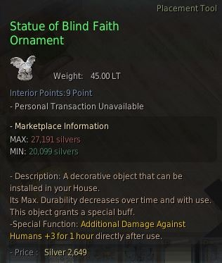 BDO Fashion | Statue of Blind Faith Ornament (Black Desert