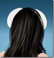 Female White Bunny Ears Rear