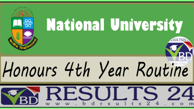 National University Honours 4th Year Routine