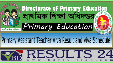 Primary Assistant Teacher Viva Result and viva Schedule