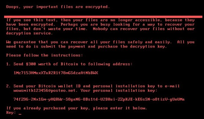Ransomware message from Petya/notPetya malware