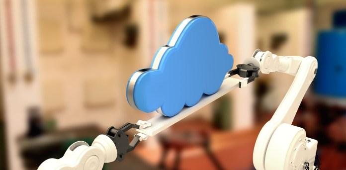 nube de mano de robot