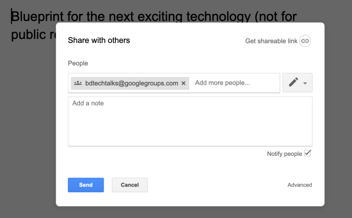 Google Docs shared with Google Group
