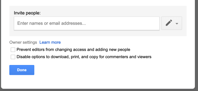 Google Docs advanced sharing settings editor access