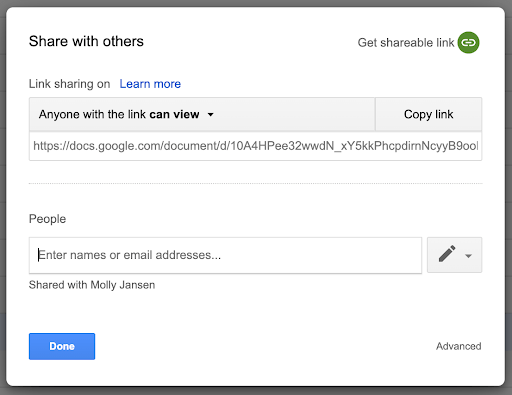 Google Drive old sharing ui