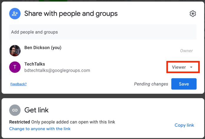 Google Drive sharing viewer mode