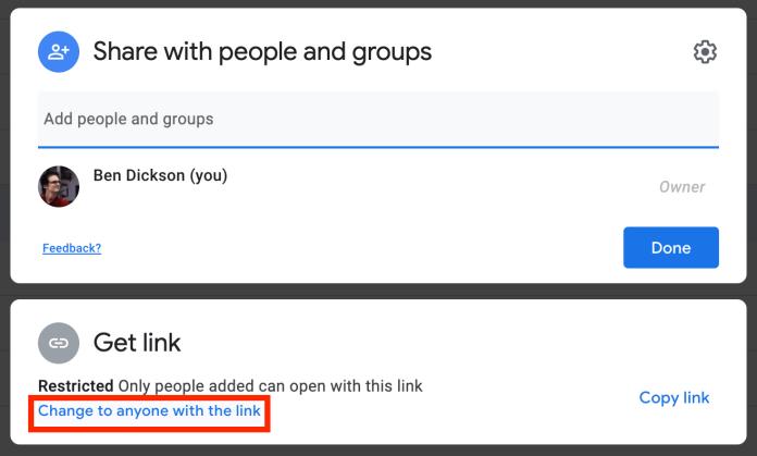 Google Drive link-sharing