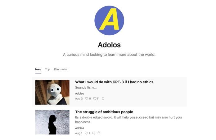 screenshot of adolos blog