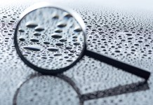 magnifying glass water droplets