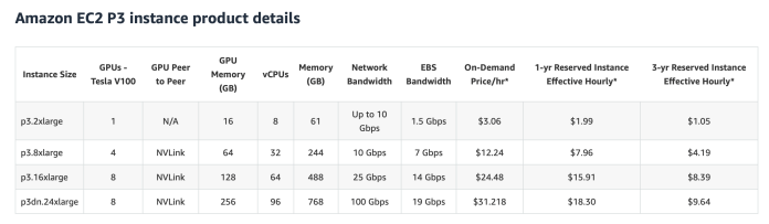Amazon EC3 P3 pricing