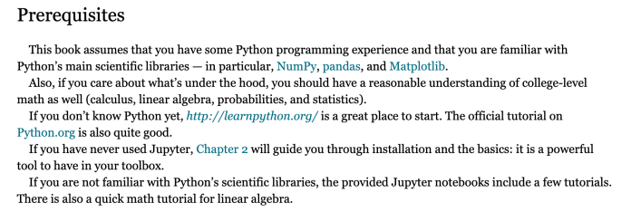 machine learning prerequisites