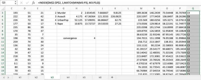 k-means clustering with excel