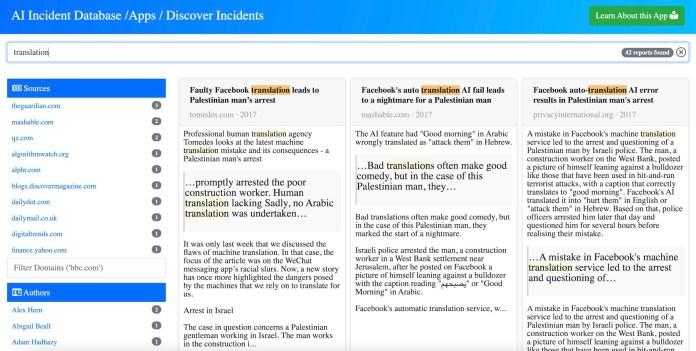 consulta de tradução do banco de dados de incidentes ai