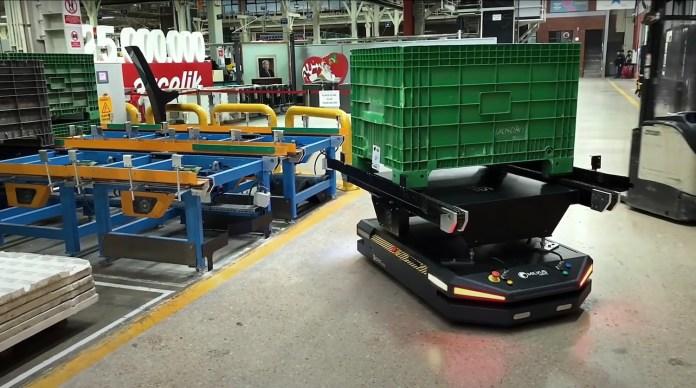 autonomous robot in warehouse