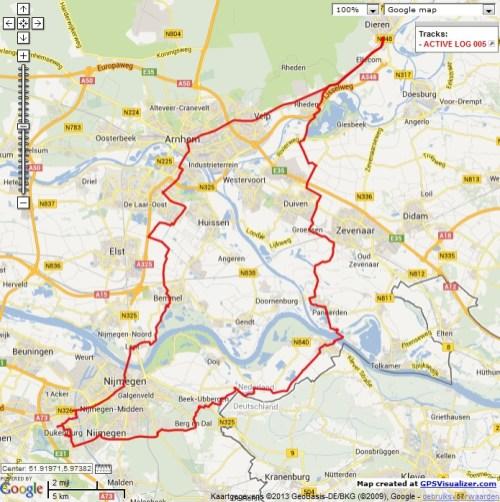 Dieren – Millingen aan de Rijn – Nijmegen – Dieren, 100 km.