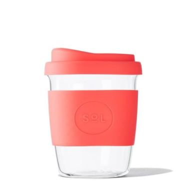 Sol Re-usable Glass Cup Tropical Coral 8oz