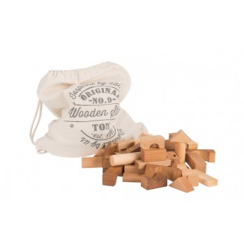 Wooden Story Blocks Natural in Cotton Sack, 100 pieces