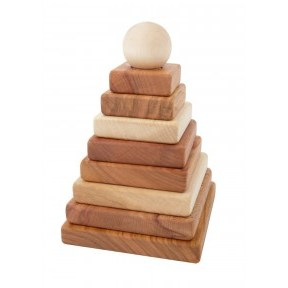 Wooden Story Natural Pyramid Square Stacker Toy