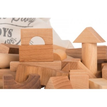 Wooden Story Blocks Natural in Cotton Sack, 100 pieces Wooden Story Blocks Natural in Cotton Sack, 100 pieces