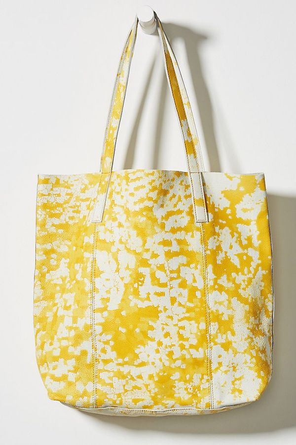 yellow tie dye tote bag