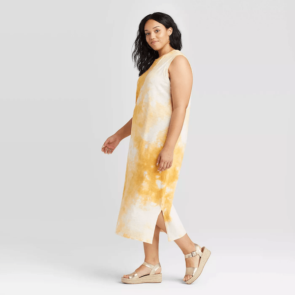 yellow and white tie dye dress