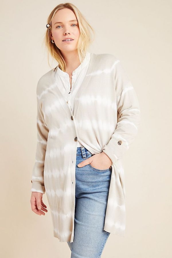 cream and white tie dye cardigan