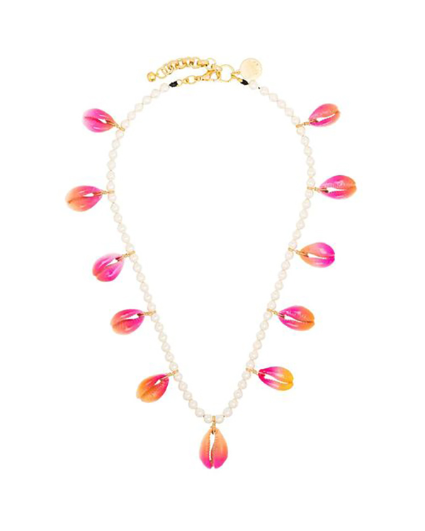 A pearl necklace lined with painted cowrie shells.