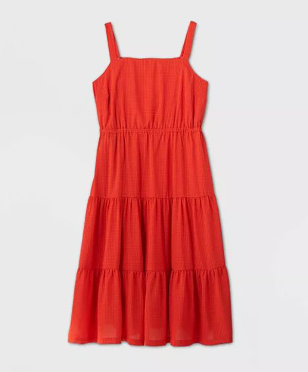 A plus-size red sundress.