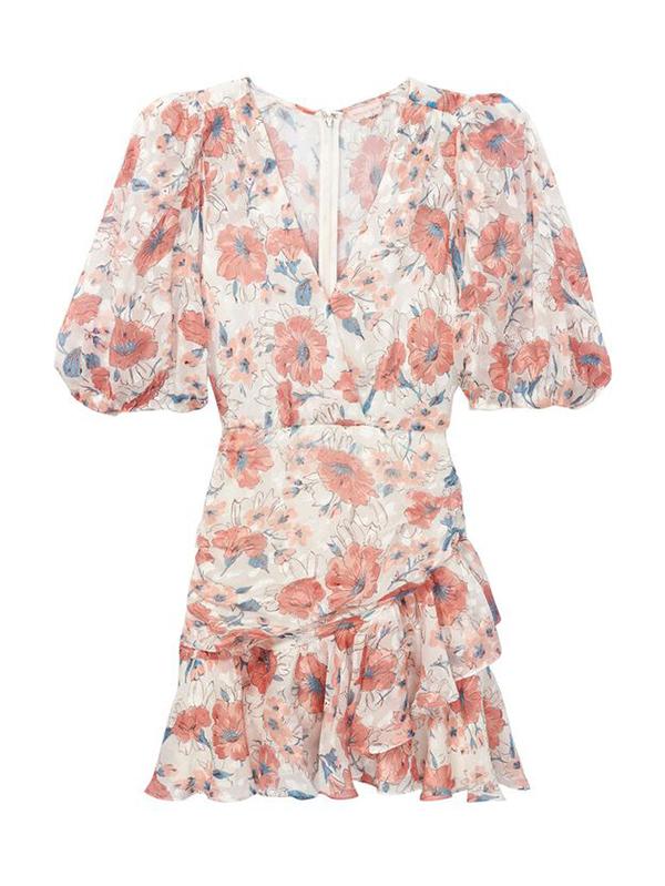 A plus-size floral mini dress.