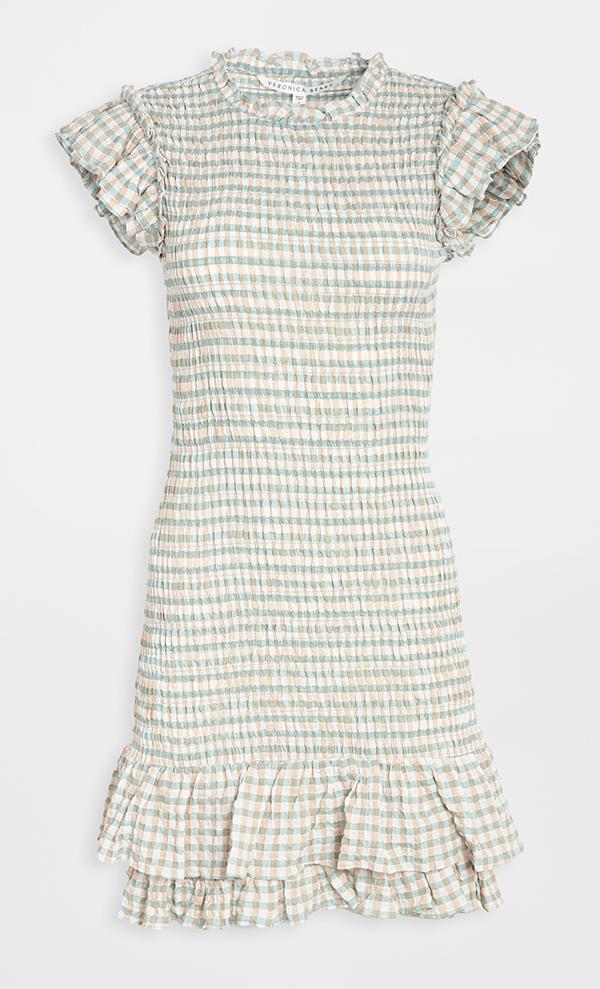 A plus-size ruched plaid dress.