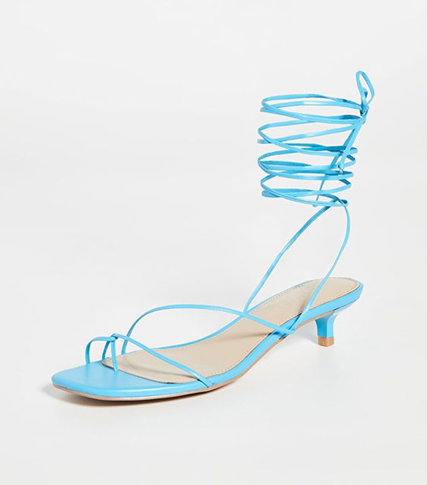 A neon blue, lace-up, strappy heel.