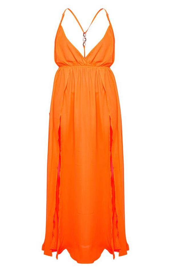 A neon orange maxi dress.