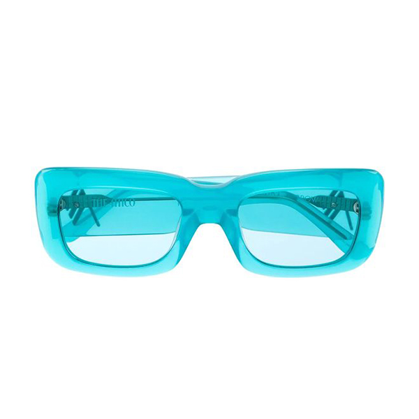 A pair of neon blue sunglasses.