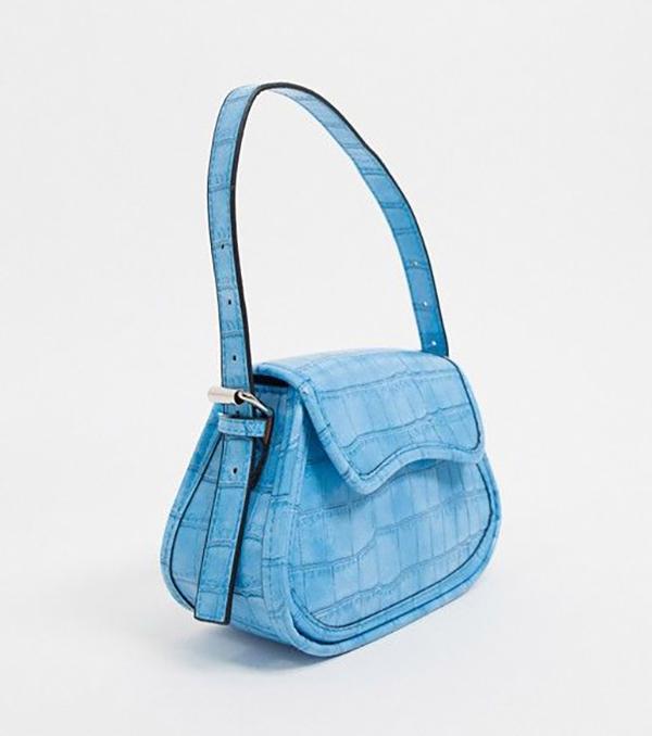 A neon blue mini bag.