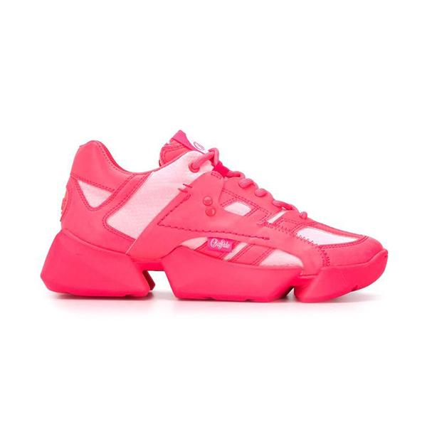 A neon pink sneaker.