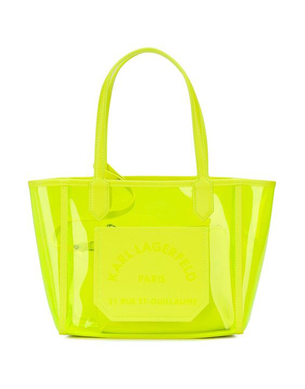 A transparent, neon yellow-green tote bag.