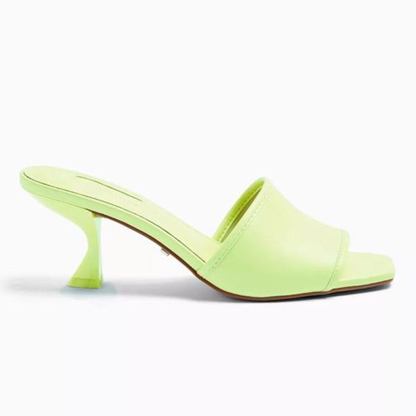A neon yellow-green slip-on heel.