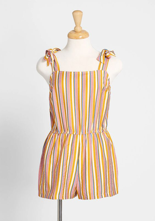 A striped, colorful romper.