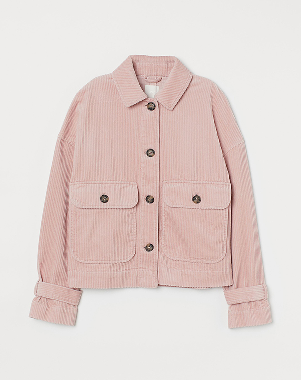 A plus-size, light pink corduroy shacket.
