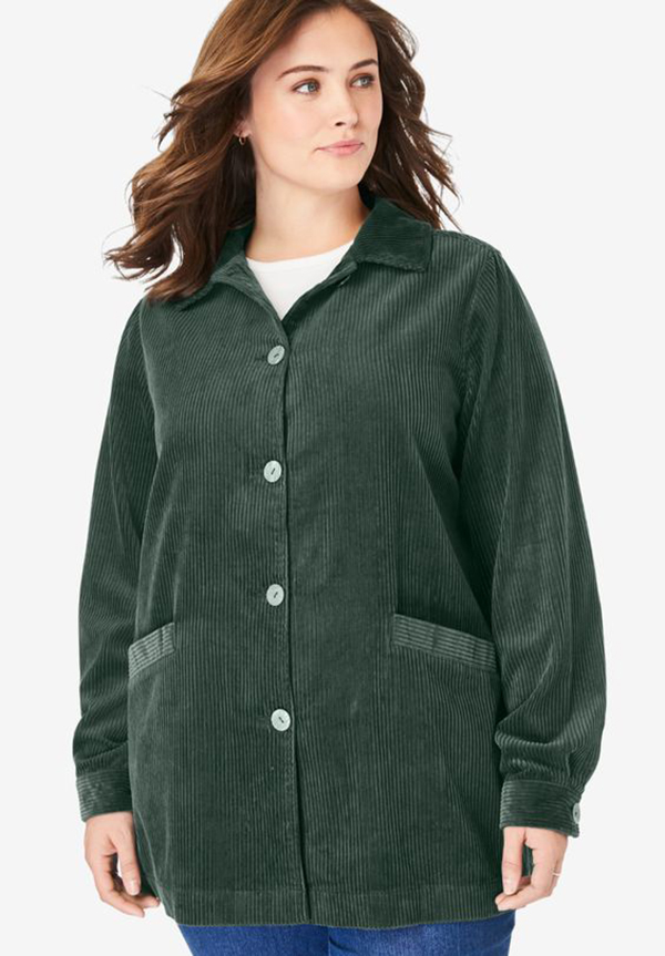 A plus-size model wearing a corduroy jacket.