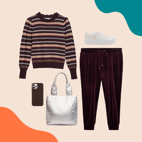 A collage with a brown striped sweater, faux velvet joggers, a silver puffy bag, brown phone case, and white sneakers.