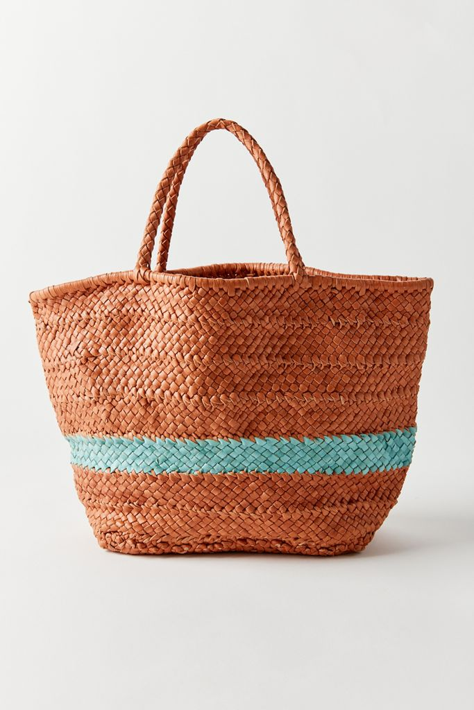 Brown and Turquoise Straw Bag