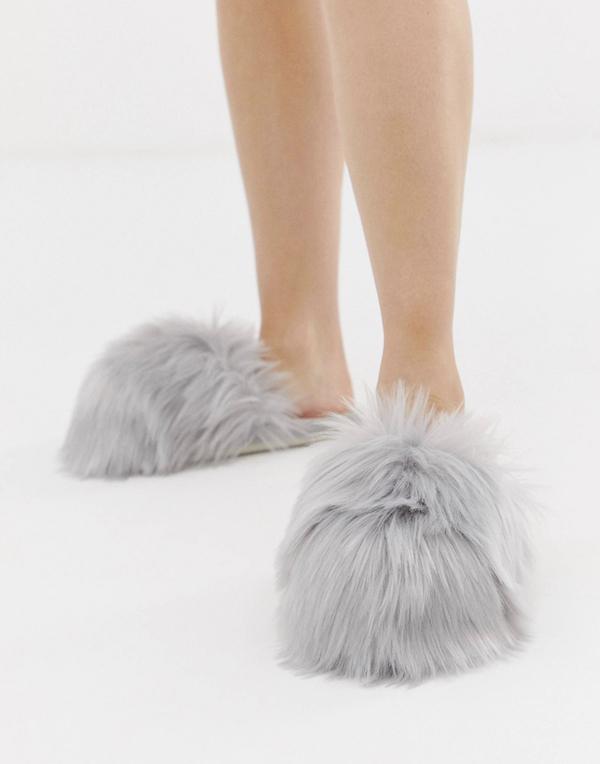 Gray Fuzzy Slippers