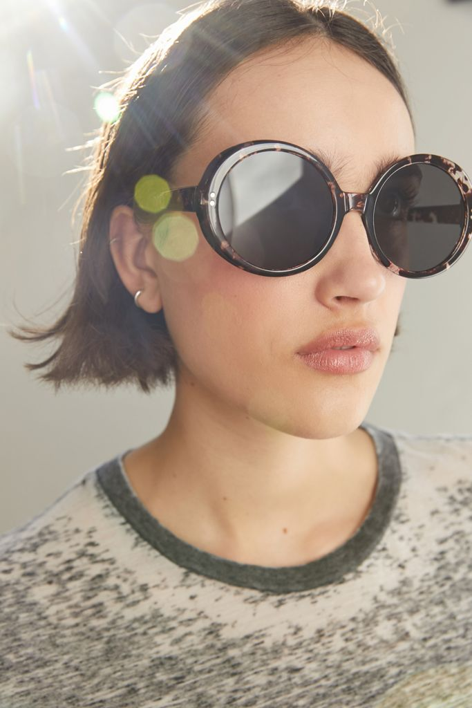 Brown and Black Oversized Round Sunglasses