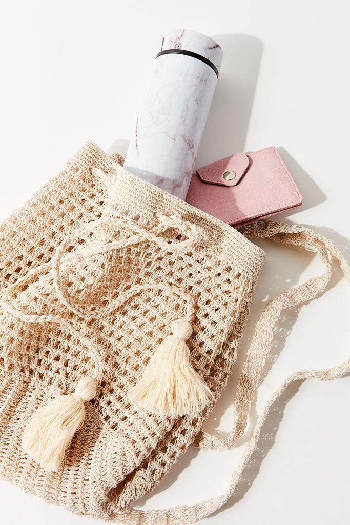 Tan Crochet Backpack
