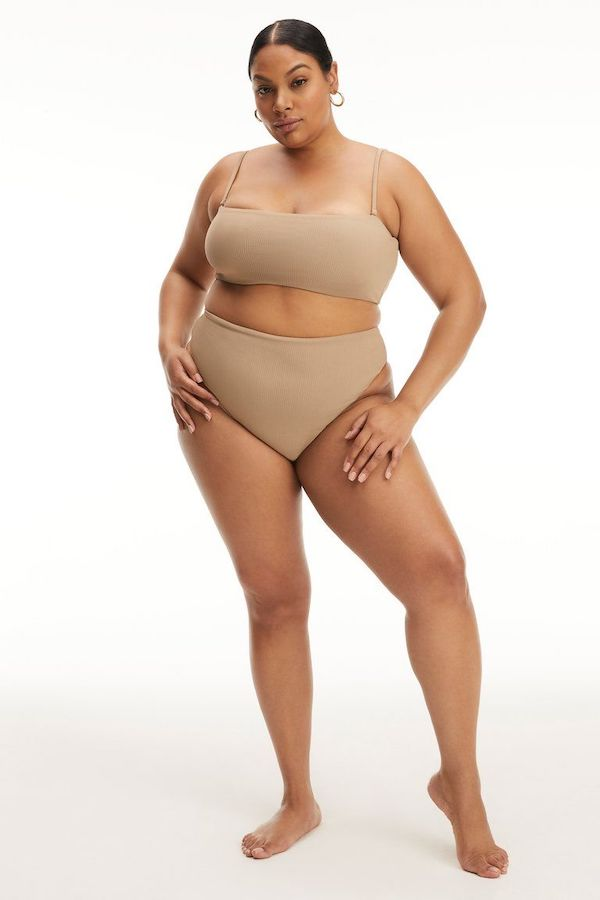 A model wearing a plus-size bikini.